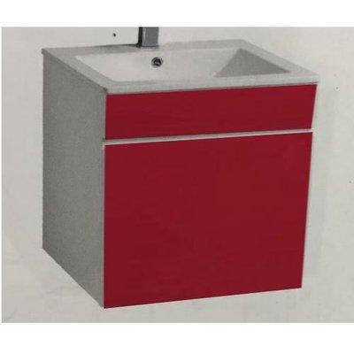 白色瓷器薄盆//小小空間也能美美的唷//紅色結晶門板搭白色櫃體-美美滴-成舍衛浴