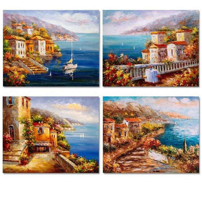 歐式複古海邊風景油畫翻印噴繪裝飾畫畫芯客廳餐廳掛畫(4款可選)