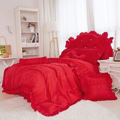 公主床罩組 標準雙人床罩組 奶油公主 紅色 5尺薄床罩 薄被套 4件組 公主風 床罩組 波浪床裙 床裙組
