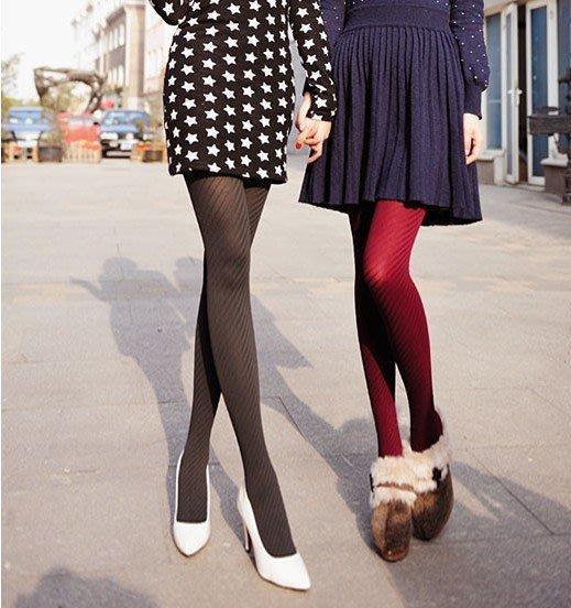 美腿140D 立體斜條紋顯瘦女連褲襪 厚毛褲襪 ~I~WEAR艾薇兒