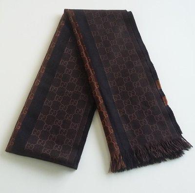 GUCCI  經典款 GG LOGO  雙面設計  100% 羊毛圍巾  義大利製造, 保證真品  超級特價便宜賣