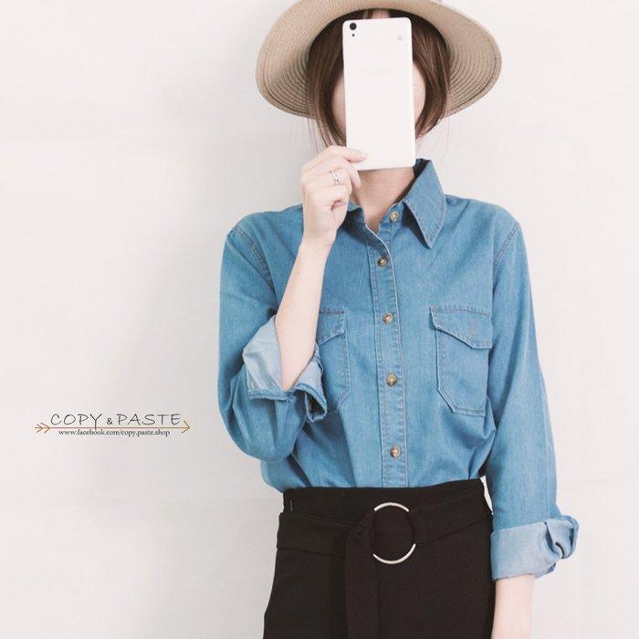 Copy&Paste【C50】韓國訂單.四季百搭顯瘦修身休閒歐美經典牛仔丹寧襯衫上衣外套S~XL大尺碼(現貨+預) 特價