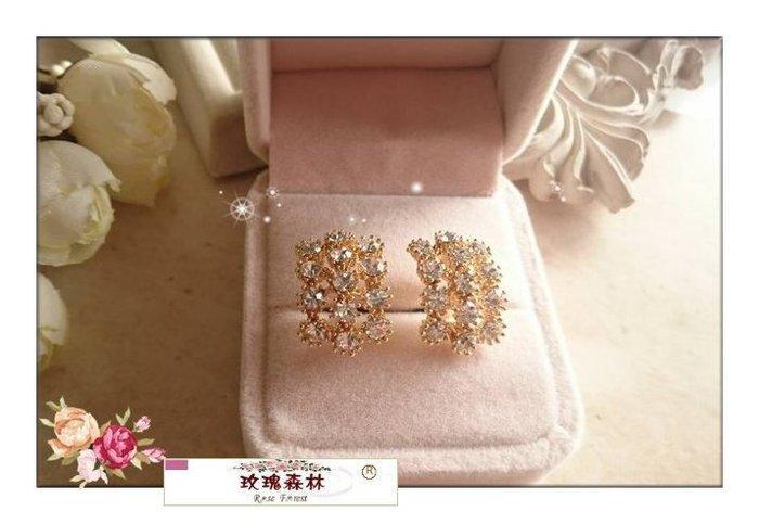 玫瑰森林-- ☆°*美麗嚴選~華麗時尚 璀璨耀眼水鑽 耳夾式無耳洞耳環