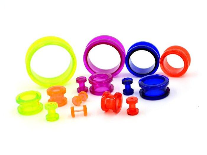 ☆追星☆ 30(0.12~0.5公分)透明中空款壓克力擴耳器(1個)耳環 不易過敏 可戴著洗澡 耳擴器 阿凡達 體環
