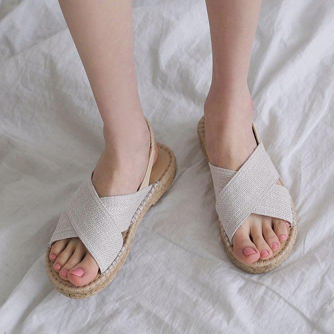 韓國正韓製造 帆布鞋面3cm氣墊涼鞋 草編涼鞋 一字寬帶氣墊涼鞋 交叉X涼鞋【04186a】♥tutti.moda♥