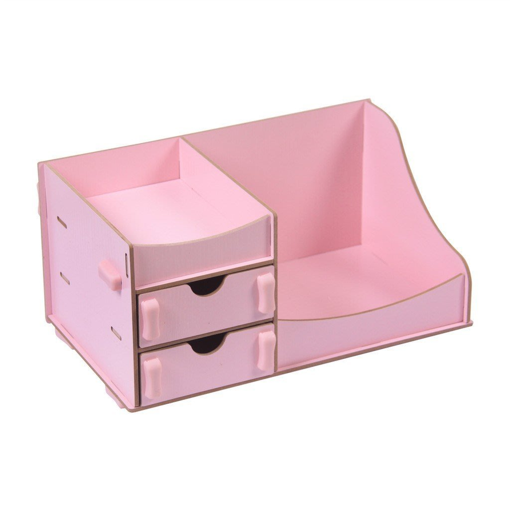 DIY桌面木質 化妝品收納盒收納架 帶抽屜置物架