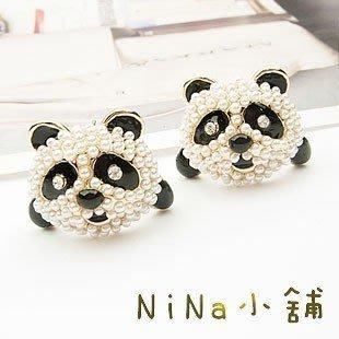NiNa小舖【E693C0】韓國Candy Girl可愛鑲嵌珍珠卡通熊貓我不是圓仔耳釘耳環(黑白)現貨-滿2件免運