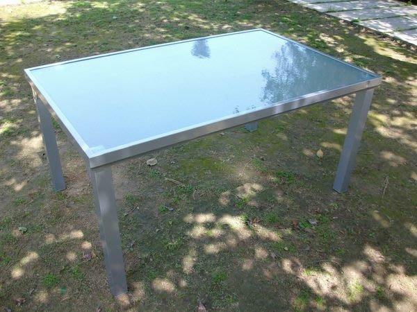 [兄弟牌戶外休閒傢俱]鋁合金長方形玻璃庭院桌~4700未稅特價銀灰色烤漆~桌152*96CM適合4-6 椅配庭院桌椅組。