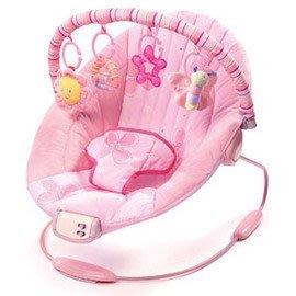 ♪♫瑋瑋城堡✲玩具出租♪♫ (二手出售)Kids II 粉紅安撫躺椅(A)(躺椅兩段式調整/有音樂.震動/附2個掛飾)
