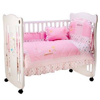 ღ新竹市太寶婦幼精品店ღ✿ViVibaby✿長頸鹿嬰兒床+七件組寢具組(藍/粉)✿