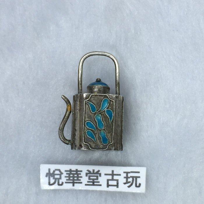 【悅華堂】-- 純銀 琺瑯 花卉 老銀 立體 小茶壺 吊飾 銀飾 配件