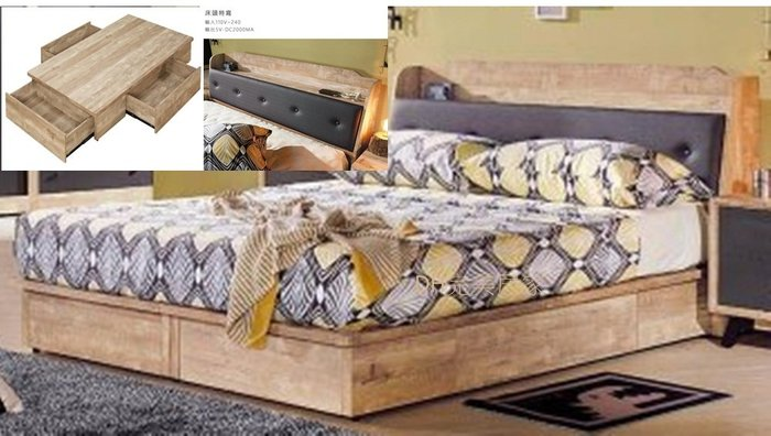 【DH】貨號D51名稱《天閣》工業風3.5尺床檯(圖一)含三抽床底.床頭箱附插座.備有5尺可選.台灣製可訂做