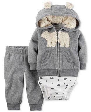 【Carters 卡特】美國正品 男寶寶可愛圖案短袖包臀衣+北極熊毛毛帽連帽外套+長褲 三件組套裝 灰色