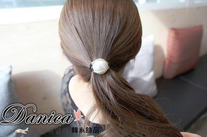 髮束 韓國時尚氣質甜美小香風地球儀金線珍珠髮束K7670-C 單個價 批發價  髮飾 Danica 韓系飾品 韓國連線