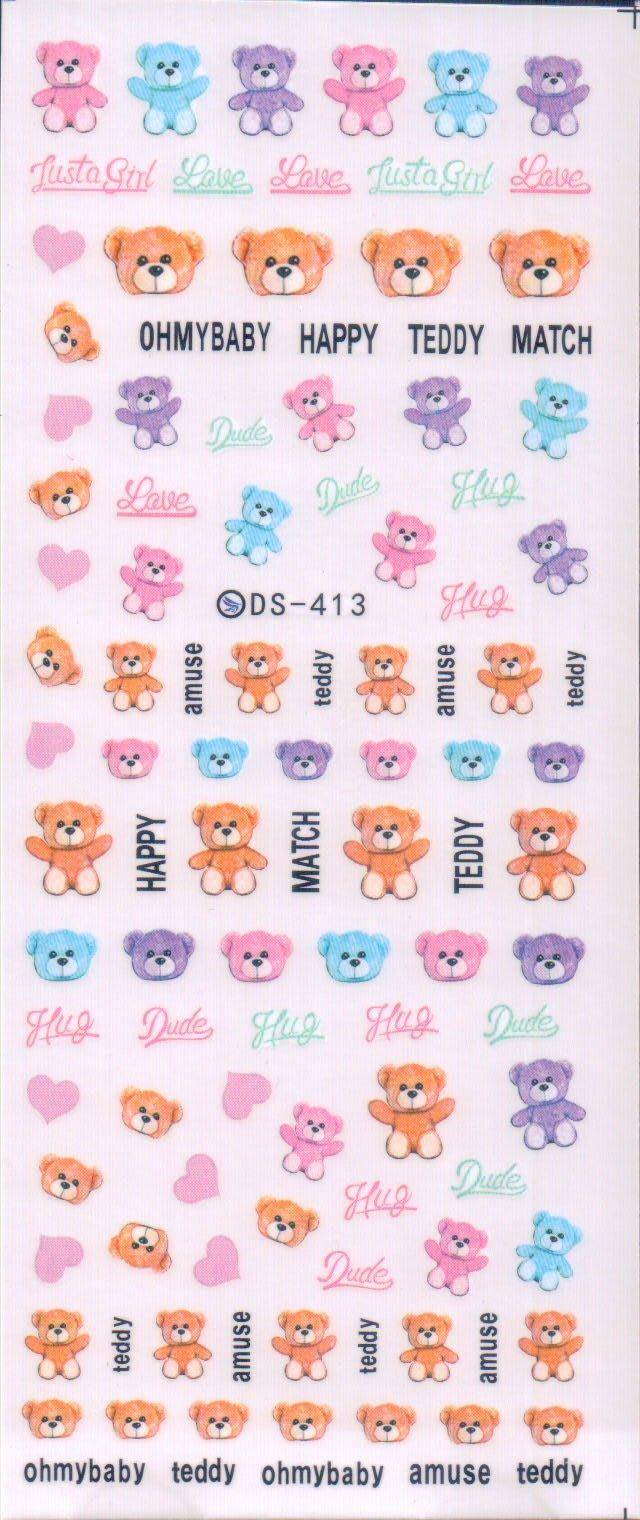 《Dear34》水轉印指甲貼紙(5.5×13CM)DS-351 小熊玩偶熊娃娃泰迪熊粉色愛心