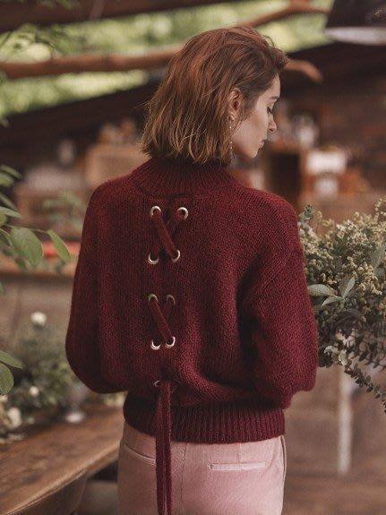 全新附吊牌 日本帶回 Mila Owen 後背寬綁帶象牙白羊毛針織上衣 (可超取付款)