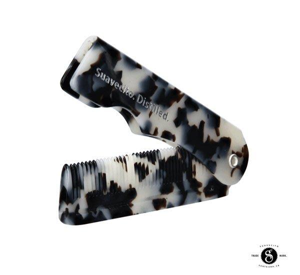 GOODFORIT / 加州Suavecito Folding Com高耐用聚酯折疊梳/黑象牙Black Ivory