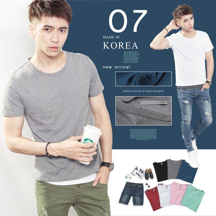 。SW。【K11562】正韓Zb韓國製 涼感彈性棉質萊卡 觸感優 彈性佳 7色 小布標圓領短袖T 英倫 歐美 極簡無印