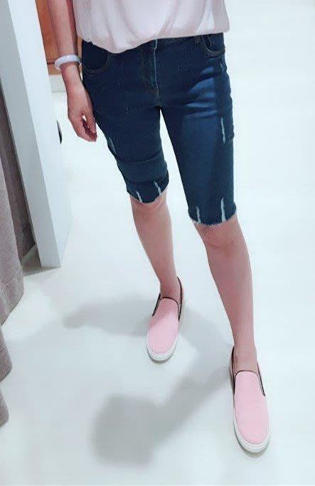 ✽JoBella 韓國空運 韓國代購 韓貨✽ 褲角不修邊牛仔五分褲 現貨+預購