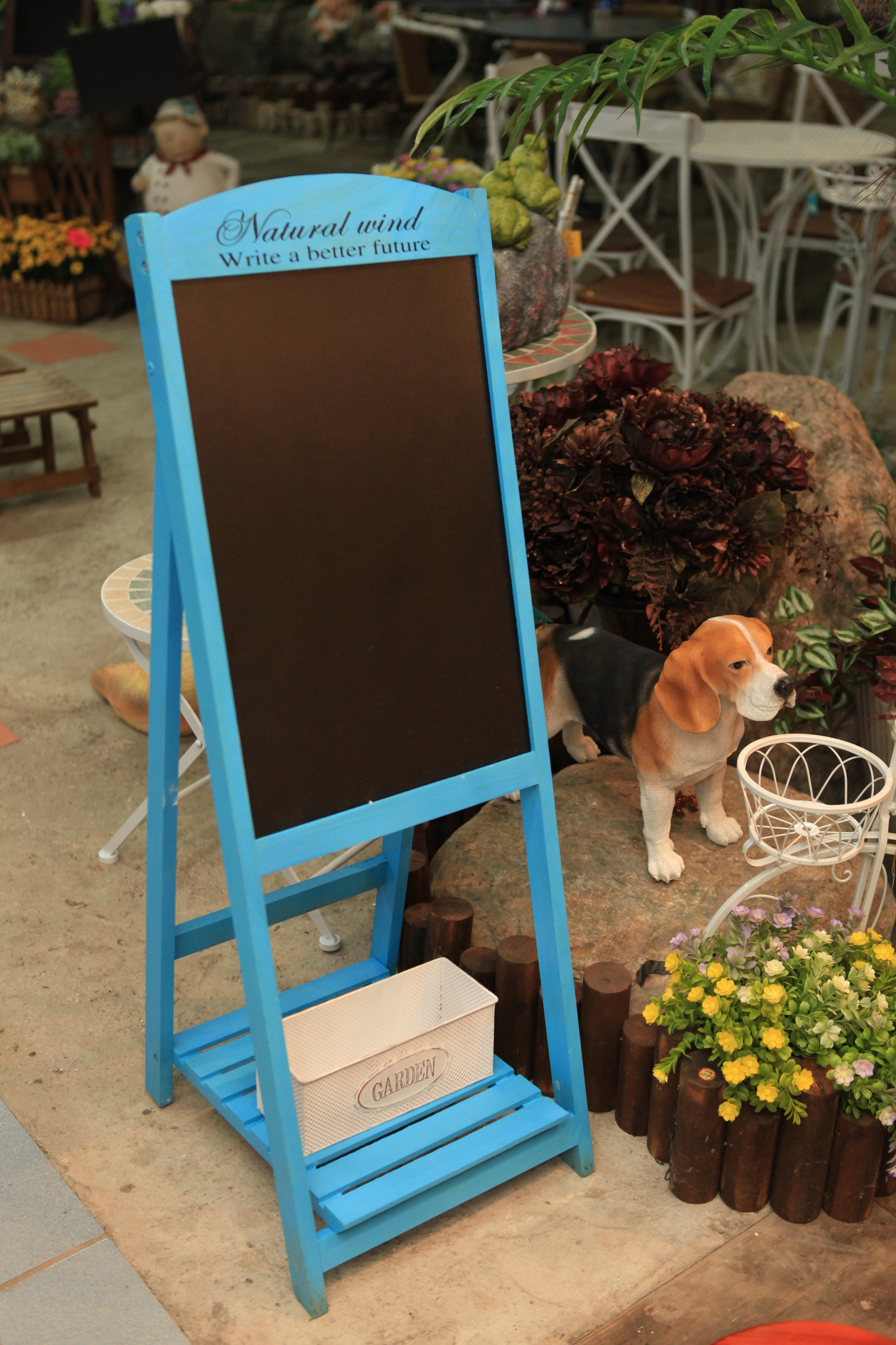 藍色立式黑板 免運費 黑板花架 Menu板 菜單架 促銷 宣傳板 復古風 鄉村系 仿舊 招牌 廣告黑板{永美家具}