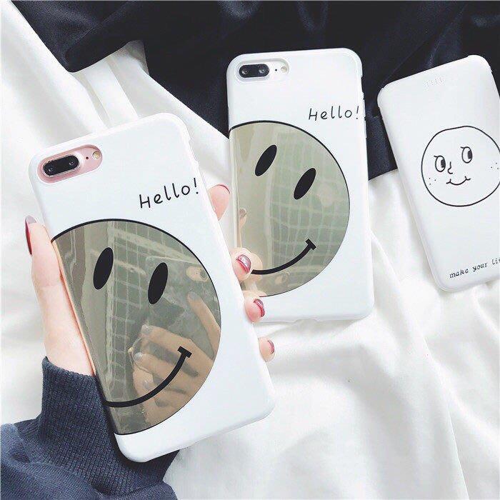 韓國chic風 iphone手機殼 燙金笑臉 i6/i6s/i7/i8/iX 軟殼【來殼一下】