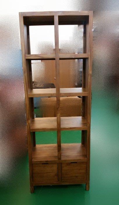宏品二手傢俱 便宜零碼家具拍賣*P760全新實木 柚木八格二抽屜展示架* 書架/雜誌架/酒櫃/高櫃