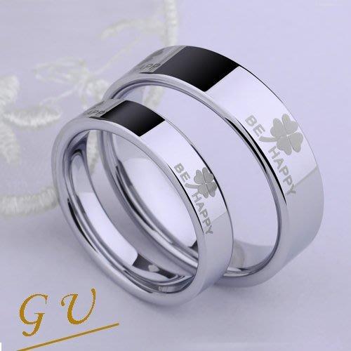 【GU】W07c 生日禮物四葉草鋼戒男戒女戒銀飾品銀戒指   Agloce 幸運草白烏玄戒指 單賣