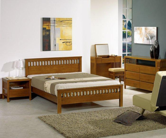 里唯南洋風情5尺柚木色實木雙人床架 床台