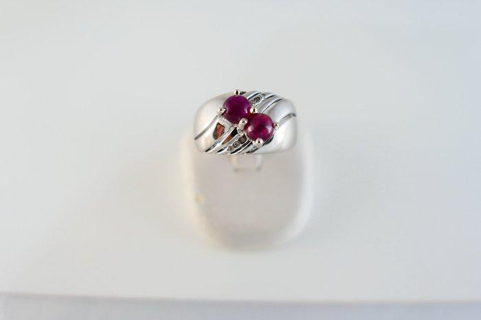 [吉宏精品交流中心]2P 蛋面碧璽 天然鑽石 白K金 造型 戒指
