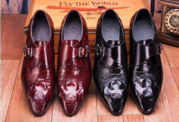 新品 頭等牛皮鱷魚紋英倫商務正裝皮鞋 搭扣尖頭皮鞋 男鞋