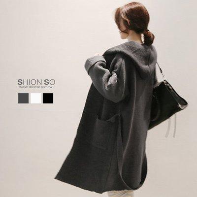 享瘦衣身中大尺碼【B3092】開襟長版毛織外套