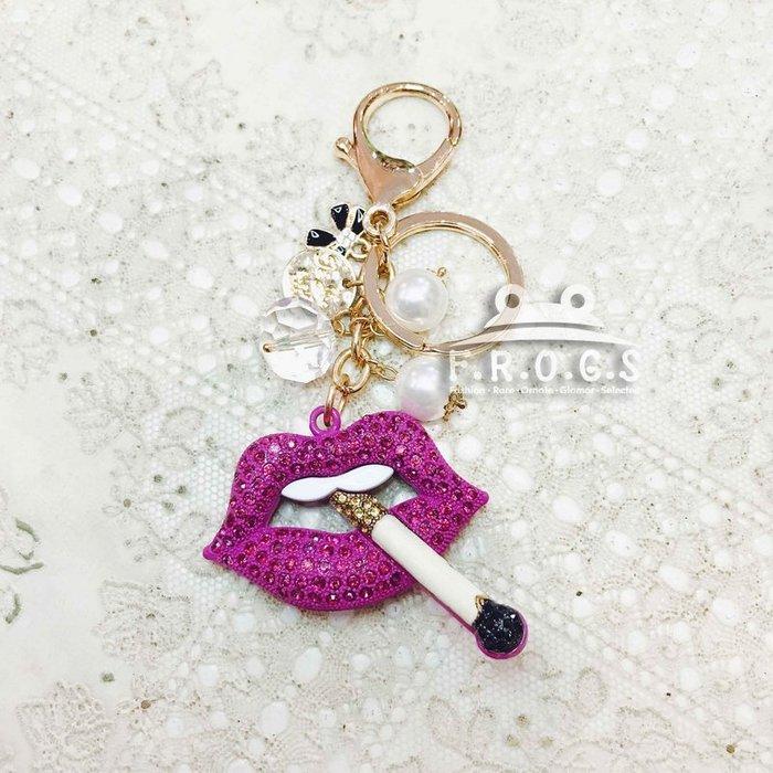 F.R.O.G.S AA0081歐美熱銷水鑽紅唇性感造型汽車包包鑰匙配飾吊飾鑰匙圈掛包飾品掛件(現+預)