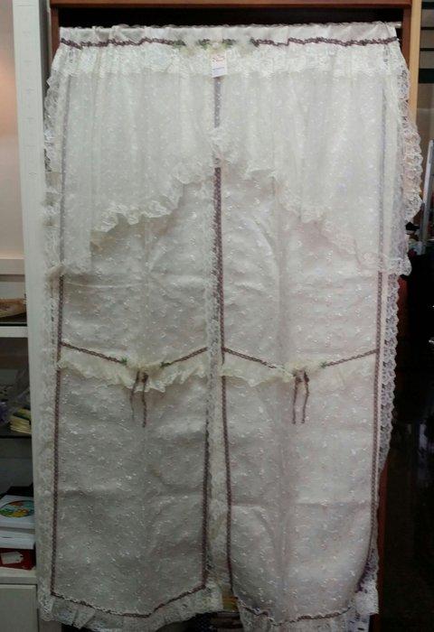 美生活館--全新鄉村風格拼布 玫瑰花 蕾絲 刺繡 薄紗 雙層長門簾/裝飾簾/櫃簾/窗簾90*150 cm