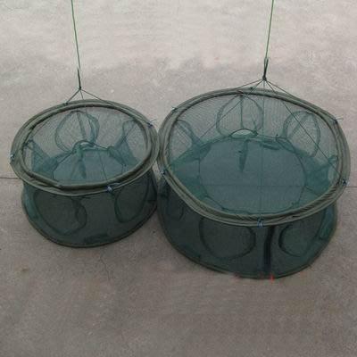 【自動捕魚籠-帶擋片7孔70cm-直徑70cm-1套/組】水中自動展開 捕蝦籠 折疊捕魚網 地籠 捕魚工具-76029