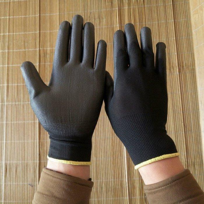 【Mr_AD精品店】黑色 沾 PU 無塵 手套 黑手套 工作手套 PU膠手套 橡膠手套