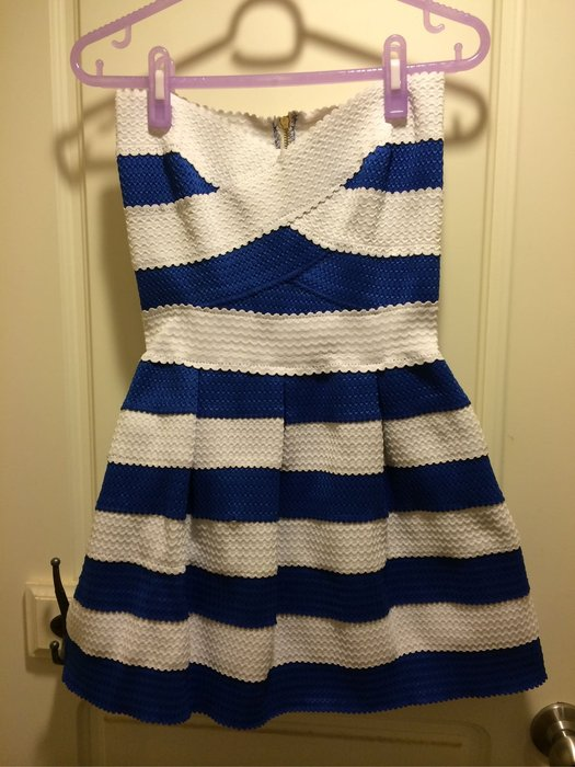 全新 藍色+白色 繃帶洋裝 超顯瘦 繃帶裝 S號