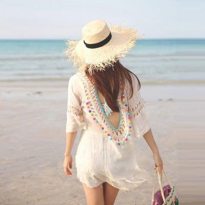 罩衫 鏤空 鈎花 露背 荷葉邊 連身裙 沙灘 比基尼 罩衫【ZSQZ215】