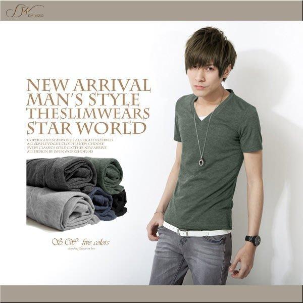 。SW。【K11121】 韓著雅痞感  修身顯瘦 細緻 綠/黑 多色彩棉 V領短袖T  95% cotton