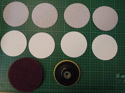 4砂輪機也可當清洗機-及砂紙機-搭配黃色4自黏式橡膠磨盤(魔鬼氈)M10(標準牙)+魔鬼氈) 自黏菜瓜布+8片砂紙