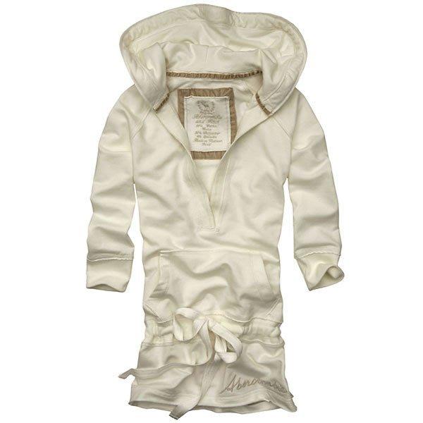 【A&F Abercrombie &Fitch】100% 全新正品 早春新品 連帽長版修身八分袖上衣 - 米白色*S