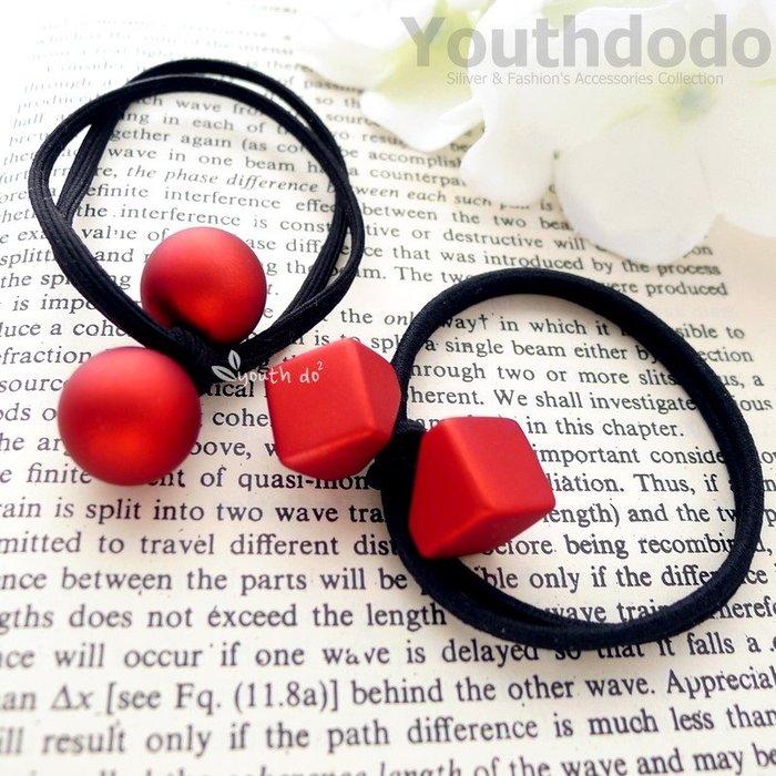手工髮飾。喜氣洋洋紅色霧面極簡造型髮圈髮束共二款(SMP-2674)~*╮柚子多多╭*