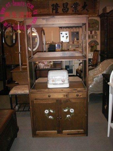 美生活館---鄉村彩繪實木家具--彩繪雙門微波爐櫃/電器收納櫃/碗盤櫃