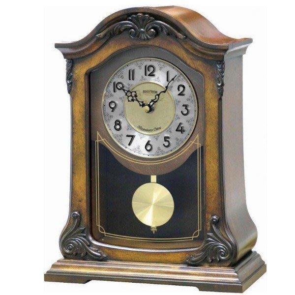 【時間光廊】日本 麗聲 RHYTHM 木質外殼 整點音樂鐘 桌鐘 座鐘 CRJ717CR06