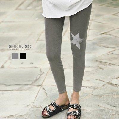 享瘦衣身中大尺碼【B2011】洗舊感星星內搭褲