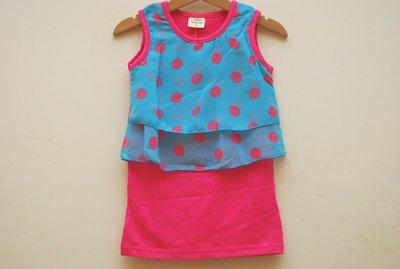 小蜜桃精緻童裝衣舖**12061511桃紅色假兩件點點無袖洋裝出清價88元可面交