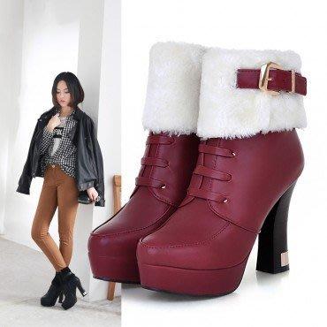 yes99buy加盟-純色搭扣側拉鏈粗高跟短筒女靴