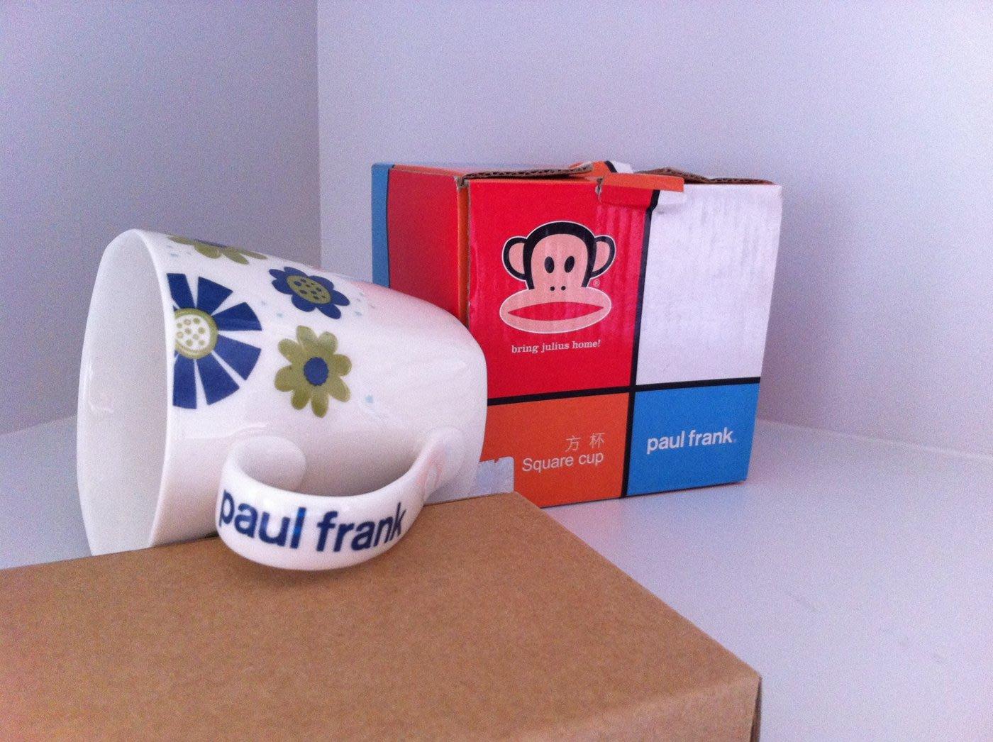 【魚罐頭】PAUL FRANK藍色花方杯 大嘴猴 馬克杯 水杯 咖啡杯