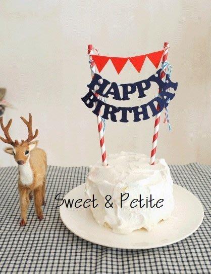 PR72❤三角旗字母款蛋糕插旗DIY 包❤藍色英文字 紅色三角旗 慶生派對蛋糕裝飾插牌道具