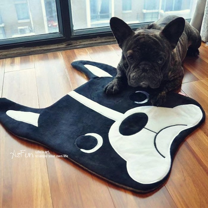 《AsFun》現貨 法鬥絨毛地墊 腳踏墊 柔軟吸水 法國鬥牛犬 寵物狗窩墊  門前墊 床邊墊
