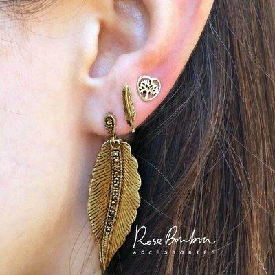 歐美復古波西米亞羽毛樹葉生命樹金色耳環...